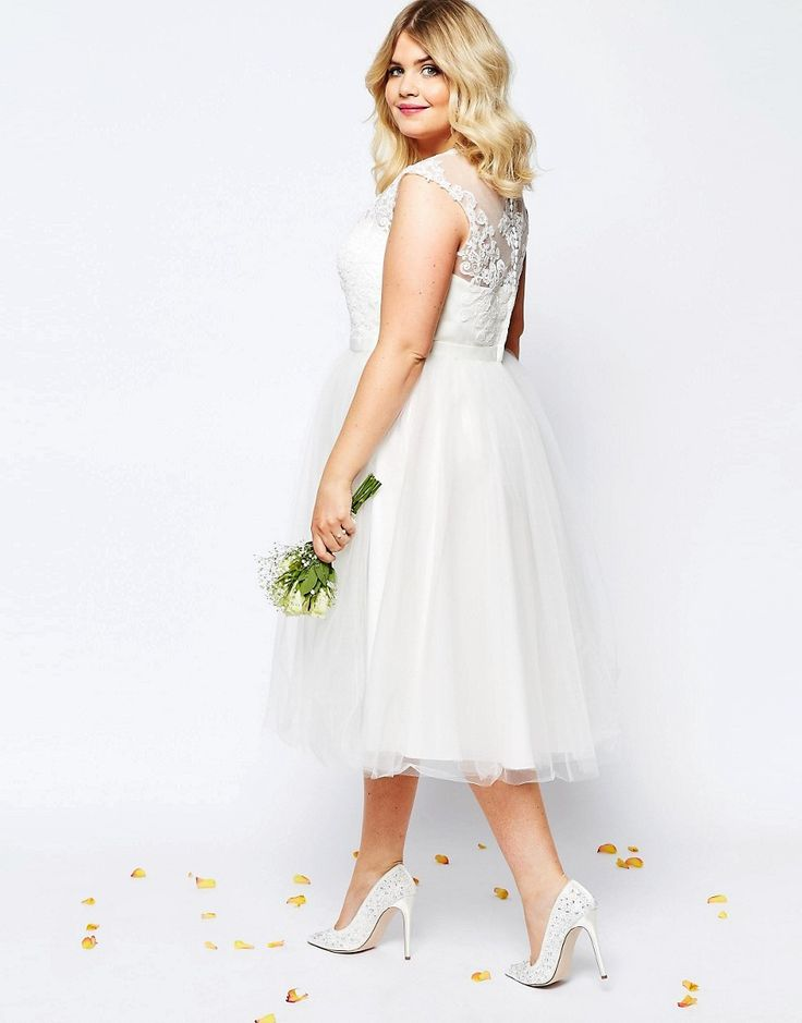 ASOS CURVE BRIDAL Lace Sweetheart Tutu Midi Dress