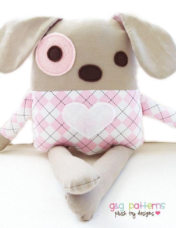 Dog Sewing Pattern Plush Dog Softie Pattern PDF by GandGPatterns