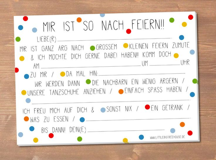 German Party Invitation with perfect invitation layout