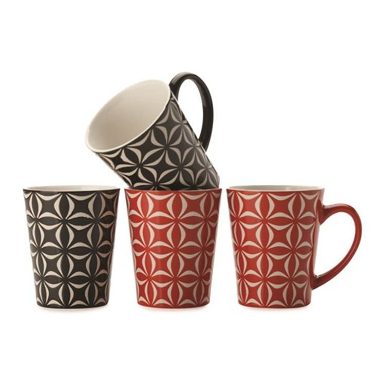 "Maxwell & Williams Graphique Star Mug 440ml Set of 4 Gift Boxed - ""house"""