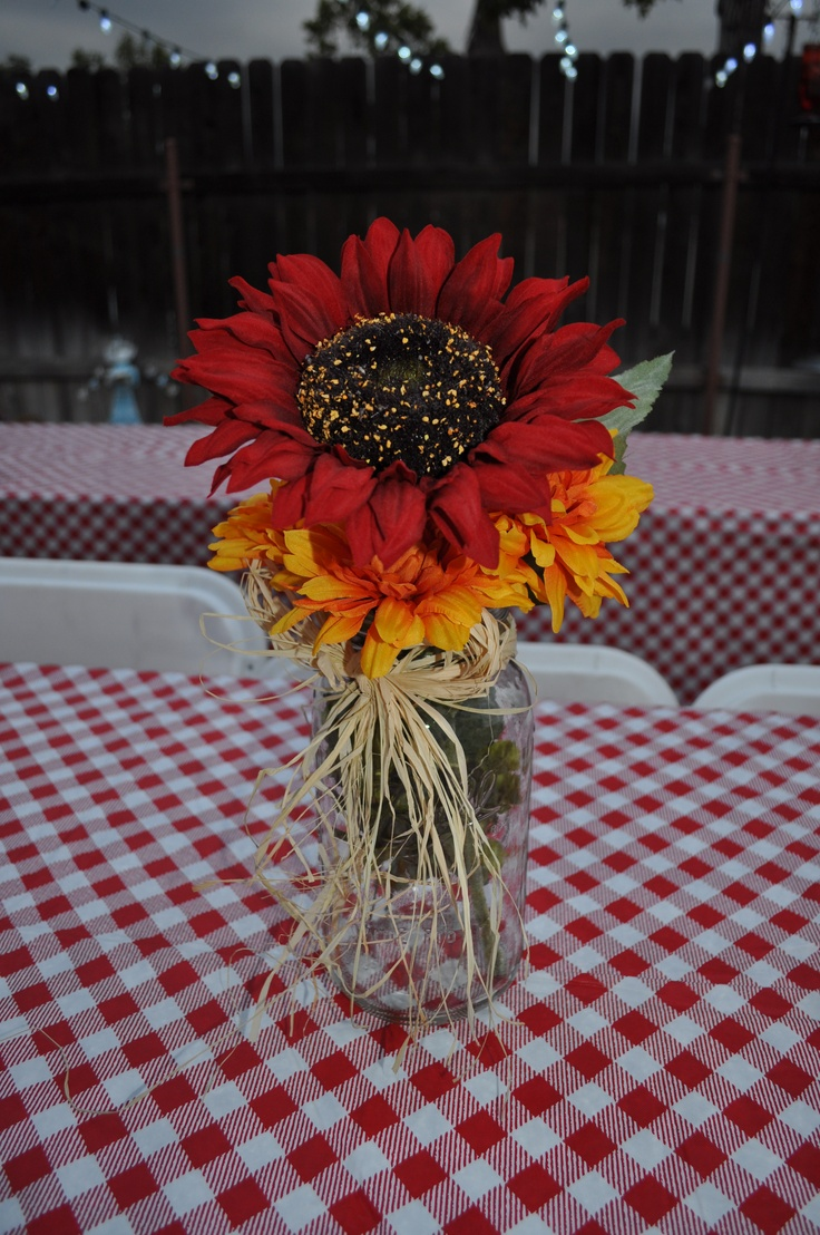 Quot i do bbq mason jar centerpiece sunflower saw it