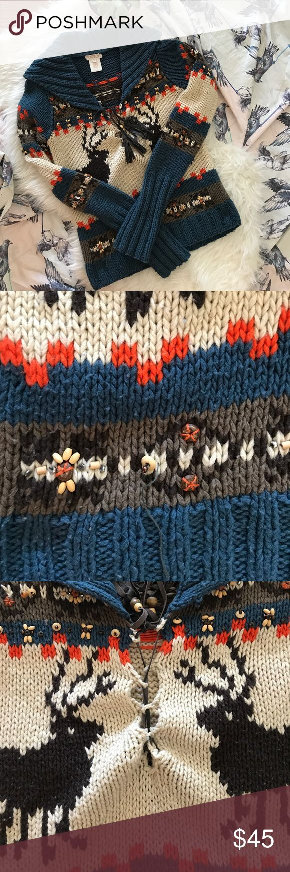 La Rok Woodsman Reindeer Sweater 'Vintage' early 2000's I remember how badly I wanted this seeing it on Jessica Simpson in US weekly! Before all these shopping sites when you had to call stores!!! Great thick sweater adorned with little beads everywhere and a leather Lace up strap. The strap is broken so I just tied together which doesn't show at all but I am sure there is a better fix other than that excellent condition pre worn sweater mild piling 26 length 19 chest arms 5 arm length not…