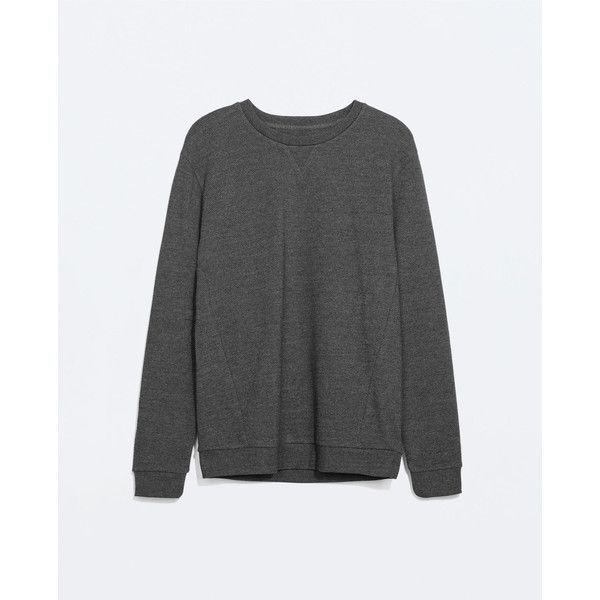 Zara Sweatshirt (68 BRL) ❤ liked on Polyvore featuring men's fashion, men's clothing, anthracite grey and zara mens clothing