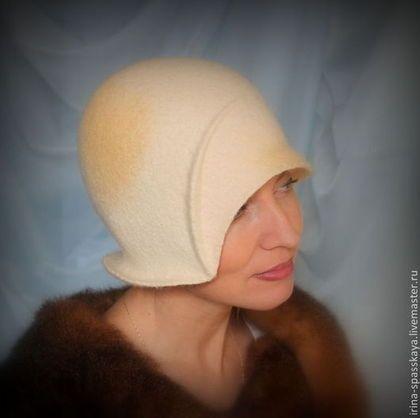 """Купить Клош """"Лунный свет"""" - лимонный, женская шляпка, дамская шляпа, маленькая шляпка"""
