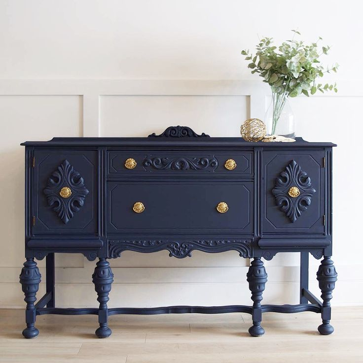 Navy Blue Sideboard Gold Accents Painted Furniture