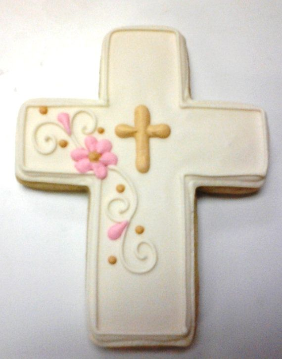 Beautiful Cross Cookie Favors by ClawsonCookies on Etsy, $36.00