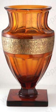 VINTAGE GLASS: 1930s MOSER KARLSBAD AMBER FACET CUT VASE w. OROPLASTIC FRIEZE. To visit my website click here: http://www.richardhoppe.co.uk or for help or information email us here: info@richardhoppe.co.uk