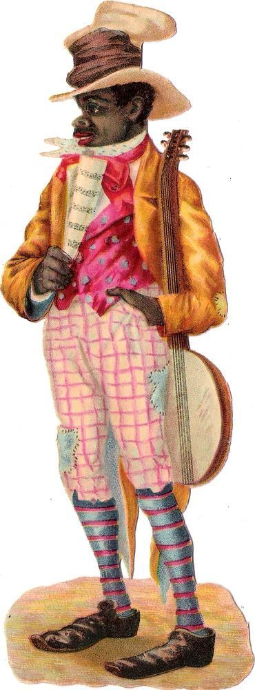 Oblaten Glanzbild scrap die cut chromo black americana 17cm man Musik music Mann