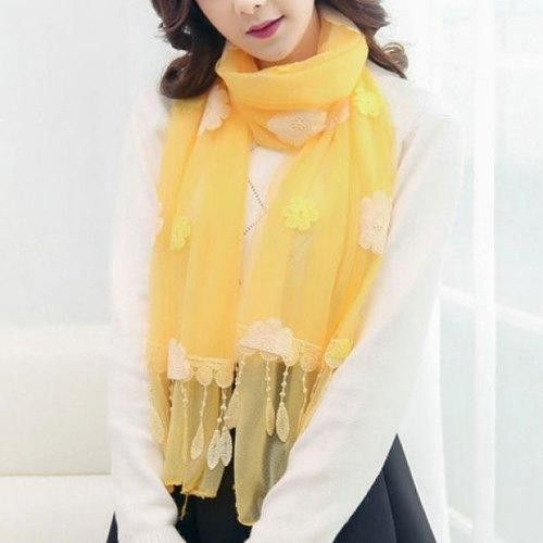Elegant Feather Shape Pendant Floral Embroidery Long Scarf For Women