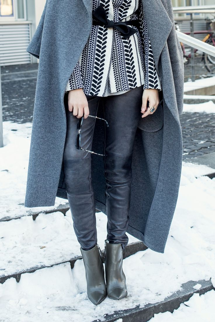 Layering Look / Grau in Grau / 50 Shades of Grey / Statement Blazer / Long Coat / Leather Pants / Leder Hose / Just Fab / Zara / Marc Jacobs / Casual / Streestyle / Winter