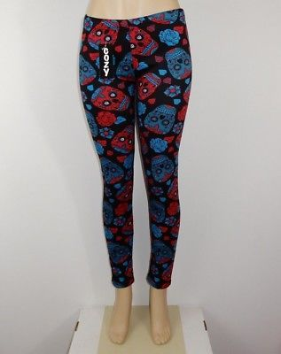 Just Cozy Size 00-04 Mink Fur Lined Low Rise Skull Red Blu Leggings Spandex Pant