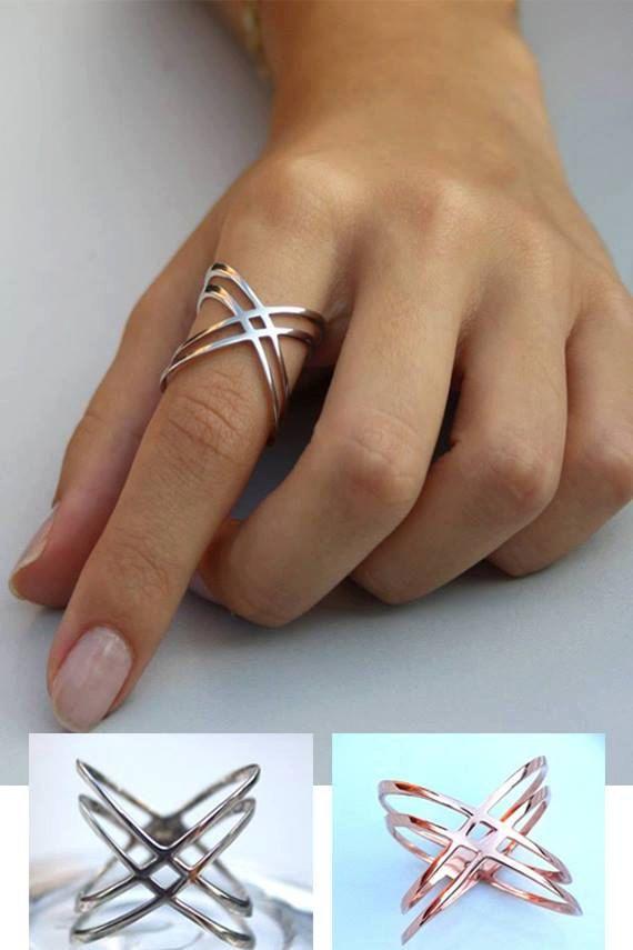 X Ring / Criss Cross Ring / 14K Gold Fill X Ring Sterling Silver X Ring / Thin Silver Ring / X Rings / Christmas Gift
