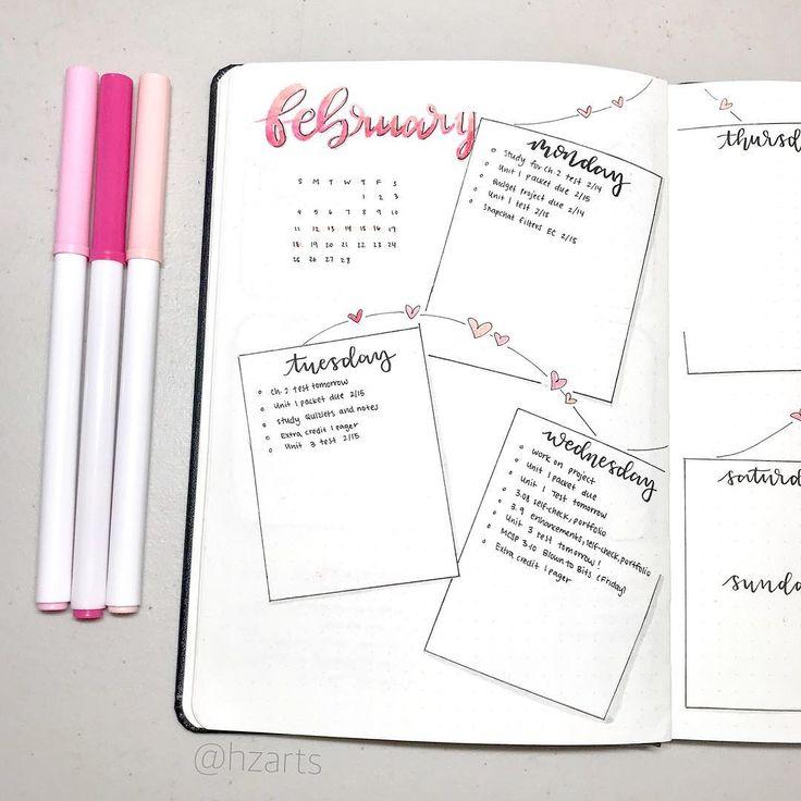 Bullet journal weekly layout, heart drawings, str…