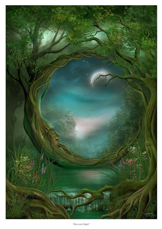 Art Print – Day and Night – Moon Tree A3 (11.7×16.5) print by John Emanuel Shannon