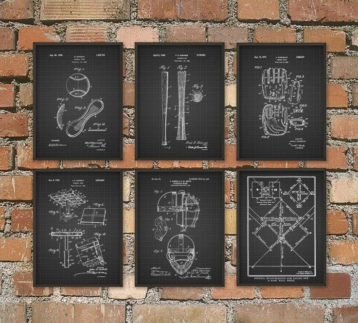 Baseball Patent Wall Art Poster Set of 6 - Baseball Gifts - Baseball Decor - Baseball Art Gift Ideas For Him - Baseball Pictures Set of 6 by QuantumPrints on Etsy https://www.etsy.com/listing/249230115/baseball-patent-wall-art-poster-set-of-6
