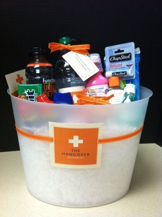 The Hangover Kit - cute 21st birthday gift idea! projects-gift-ideas.  I love this idea the best!  I've seen ones where you give all alcohol.....I like the cure better!
