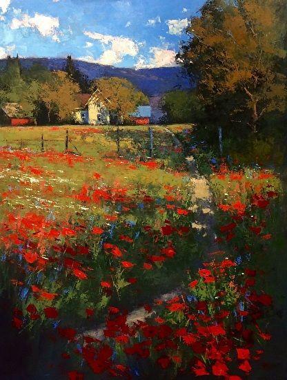 Farm Flowers by Romona Youngquist Oil ~ 36 x 48: