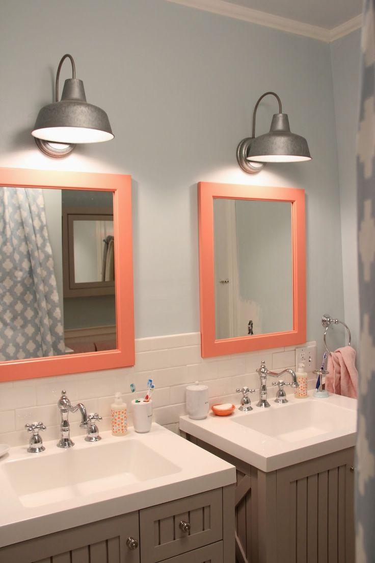 34 best kids bathroom images on pinterest home kid bathrooms girls bathroom light fixture and colored mirror frame