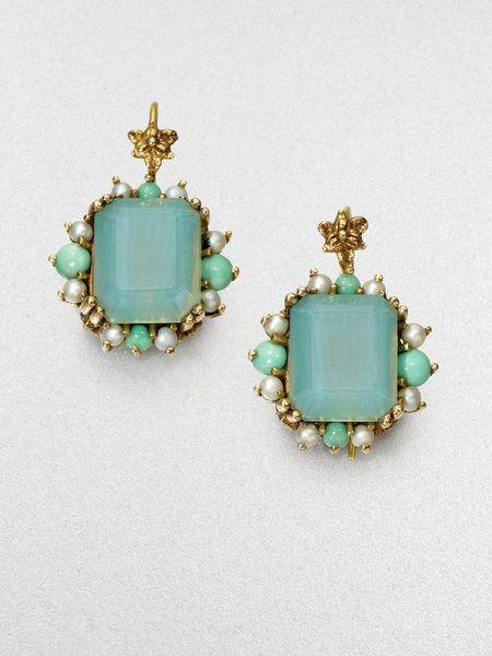 Stephen Dweck Green Agate Pearl Drop Earrings