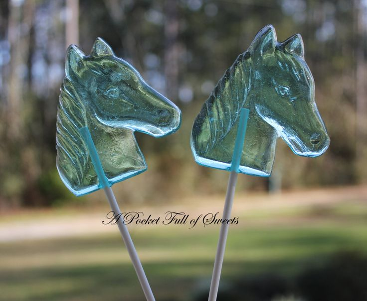 HORSE Party Favors Barley Sugar Hard Candy Lollipops Suckers Birthday Party Favors Gift Pink Horses. $19.99, via Etsy.