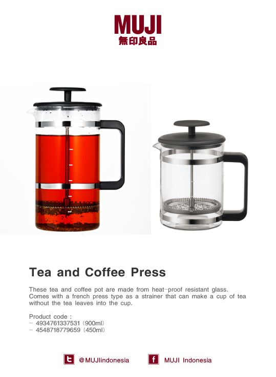 These tea & coffee pot are made from heat-proof resistant glass. Comes with a french press type as a strainer.