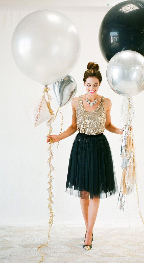Tassle with 30 Metallic Balloon by dropitMODERN on Etsy