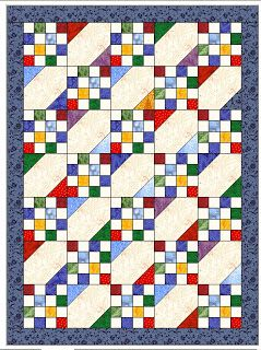 16 patch quilt. Would be cute with alternate blockade snowball block