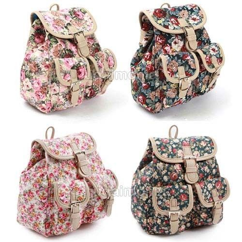 Floral Mini Backpack for Women Small School Bags Bookbag Pink Navy Ivory Green #Pilot #Backpack