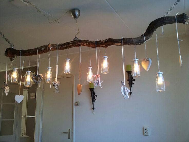 Alweer een pinterest idee uit gewerkt :) #taklamp #boomstamlamp
