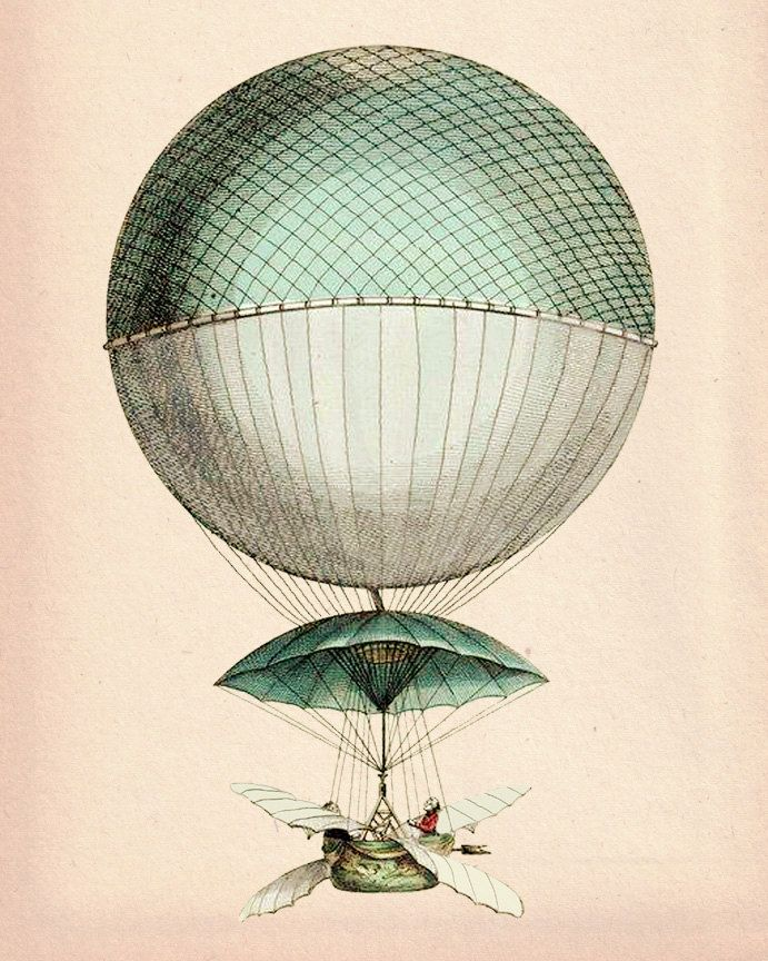 Vintage Hot Air Balloon 8X10 Vaisseau Volant Art Print ...