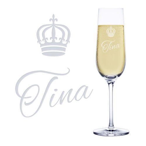 Ein hochwertiges Sektglas aus deutscher Manufaktur - individuell graviert mit Deinem Wunschnamen und einer Krone