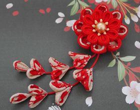 katumi made *つまみ細工の簪(かんざし)髪飾り*七五三の髪飾り、三歳用ぱっちん留め