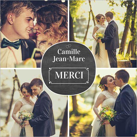Carte de remerciements de mariage : Quatre photos ardoise à personnaliser sur http://www.popcarte.com/cartes-flash/mariage-fiancailles/quatre-photos-ardoise.html