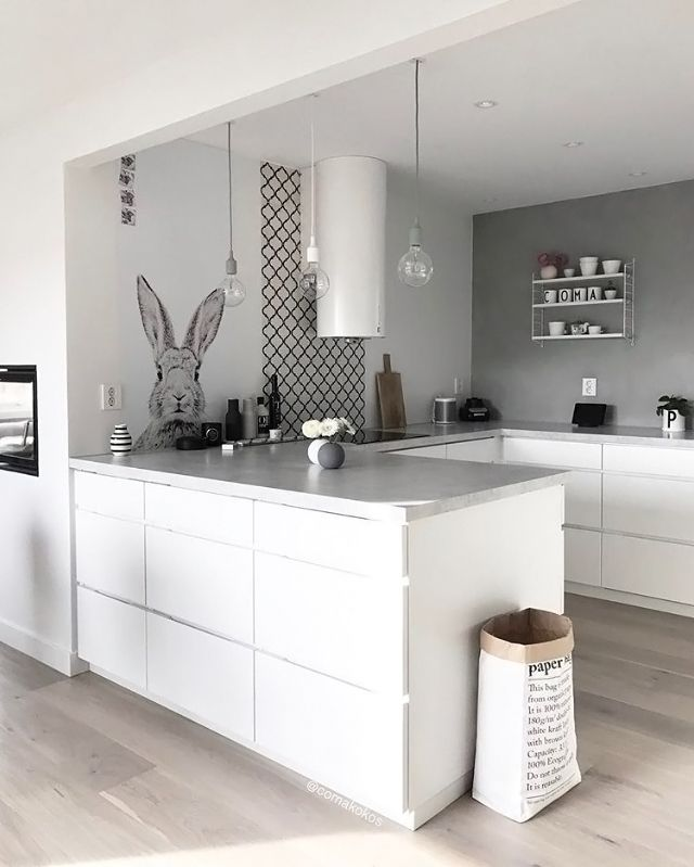 Love this beautiful kitchen! String Pocket shelf and Menu Bottle grinders are all available at we.istome.co.uk