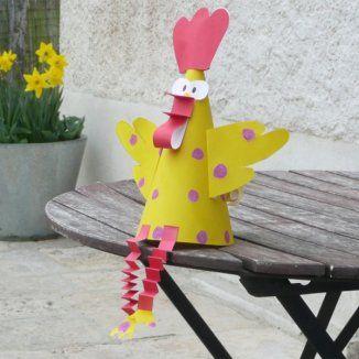 Bricolage de Pâques : le coq en papier