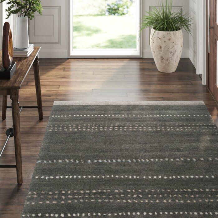 Kaibab Striped Hand Knotted Wool Peppercorn Area Rug Tufenkian Area Rugs Dark Gray Area Rug