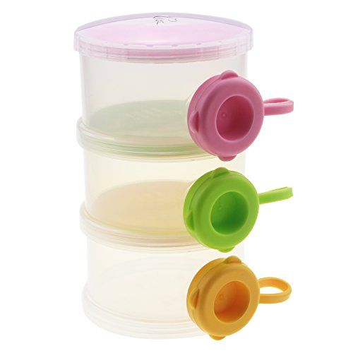 Gracallet Three Layer NoSpill Baby Feeding Milk Powder Food Dispenser Baby Formula Dispenser Portable Travel Container Bottle Storage Bowl for Kids *** Click on the image for additional details.Note:It is affiliate link to Amazon.