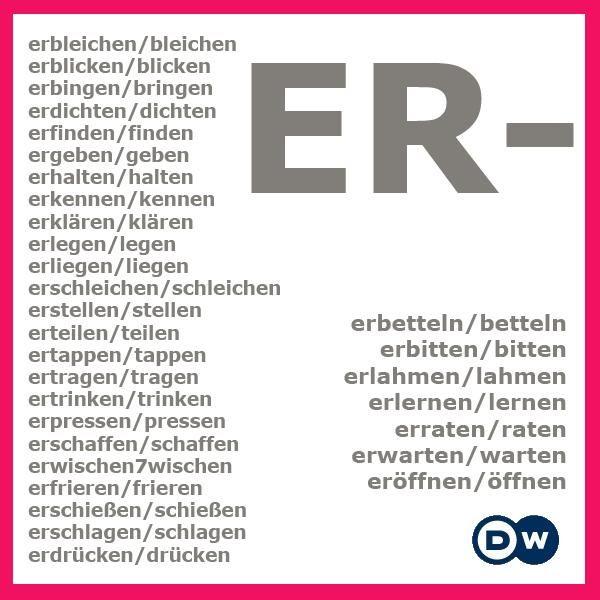 """Verben mit dem Präfix """"er-"""""""