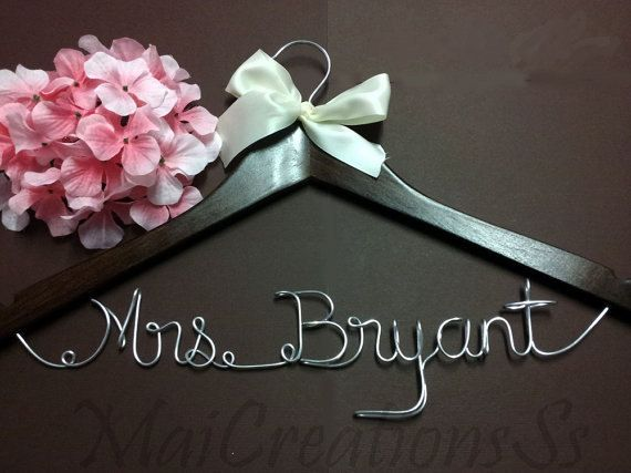 WEEKEND SALE. Personalized Bridal Wedding Hanger. Bridal Hanger. Bridal Party. Custom Hanger. Comes With Bow