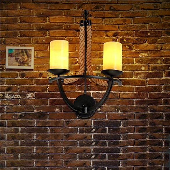 Cheap light sheer, Buy Quality light stone directly from China light christmas Suppliers:  Vintage Loft Double Heads Marble Stone Shaded&Hand Knitted Hemp Rope Wall Lamp Retro Aisle Wall Sconce Industrial W