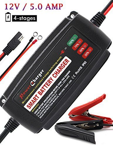 #fishingshopnow BMK 12V 5Amp Fully Automatic Battery Charger 4-Stage Maintainer Smart Charging Waterproof for Car… #fishingshopnow
