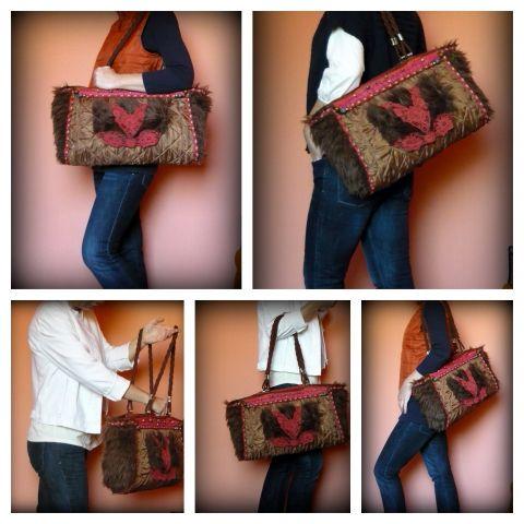 Steppelt macskás táska, Táska, Ruha, divat, cipő, Válltáska, oldaltáska, Női ruha, Meska