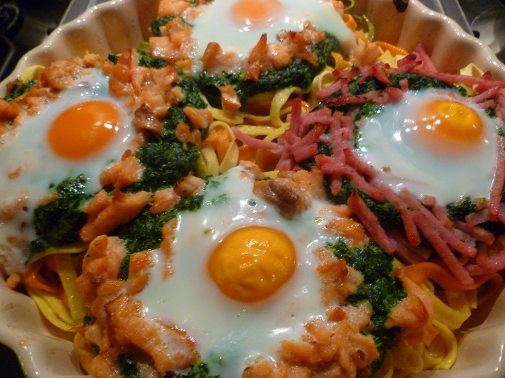 Picture a Recipe!: Pasta met gerookte zalm en spinazie