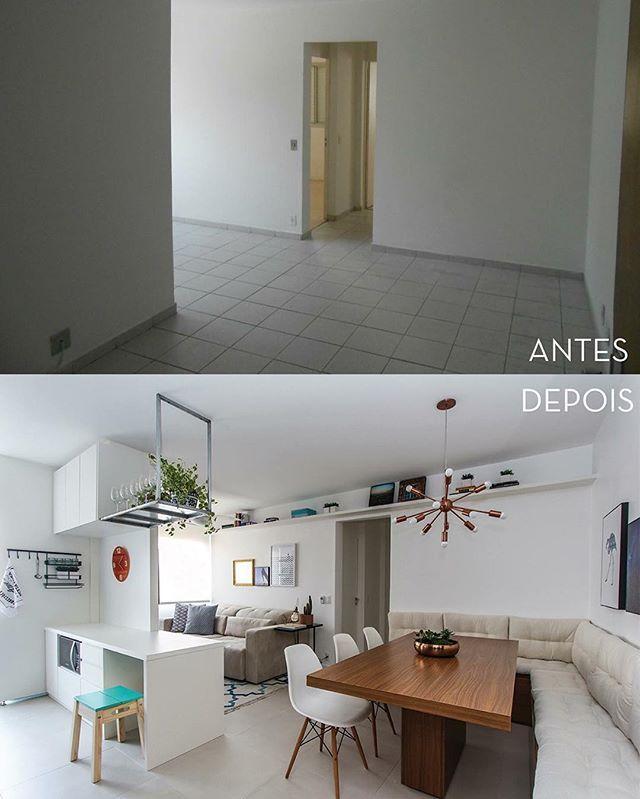 Antes e Depois do Apto. Gomes de Carvalho! A foto foi tirada no mesmo ângulo! Olha a diferença que fez abrirmos a cozinha!  ph: @andrelaiza #arquitetura #interiores #decoração #interiordesign #architecture #design #decor