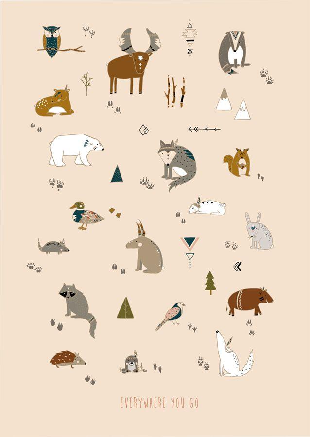 Everywhere you go – animal footprint poster  #illustration #larabispinck #larabispinckillustration #sketch #animals #footprints #bear #moose #squirrel #bird #mouse #raccoon #duck #poster #decoration #print #paperstuff #lovely #aztec #pattern #aztecpattern #trinagular