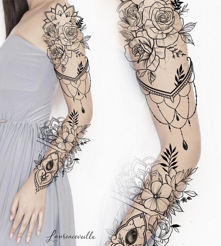 Woman Tattoo Sleeve Ideas Design @laurenceveillx #flowertattoos