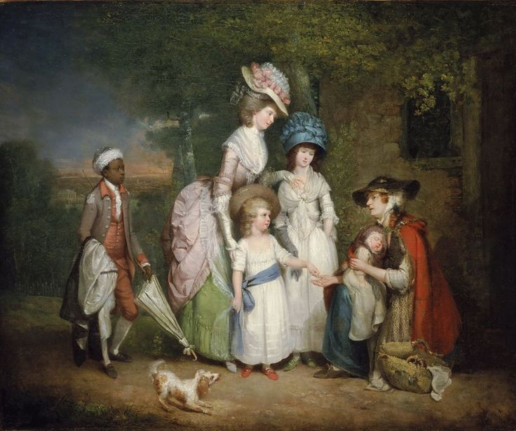 William Redmore Bigg - A Lady and Her Children Relieving a Cottager, 1781.