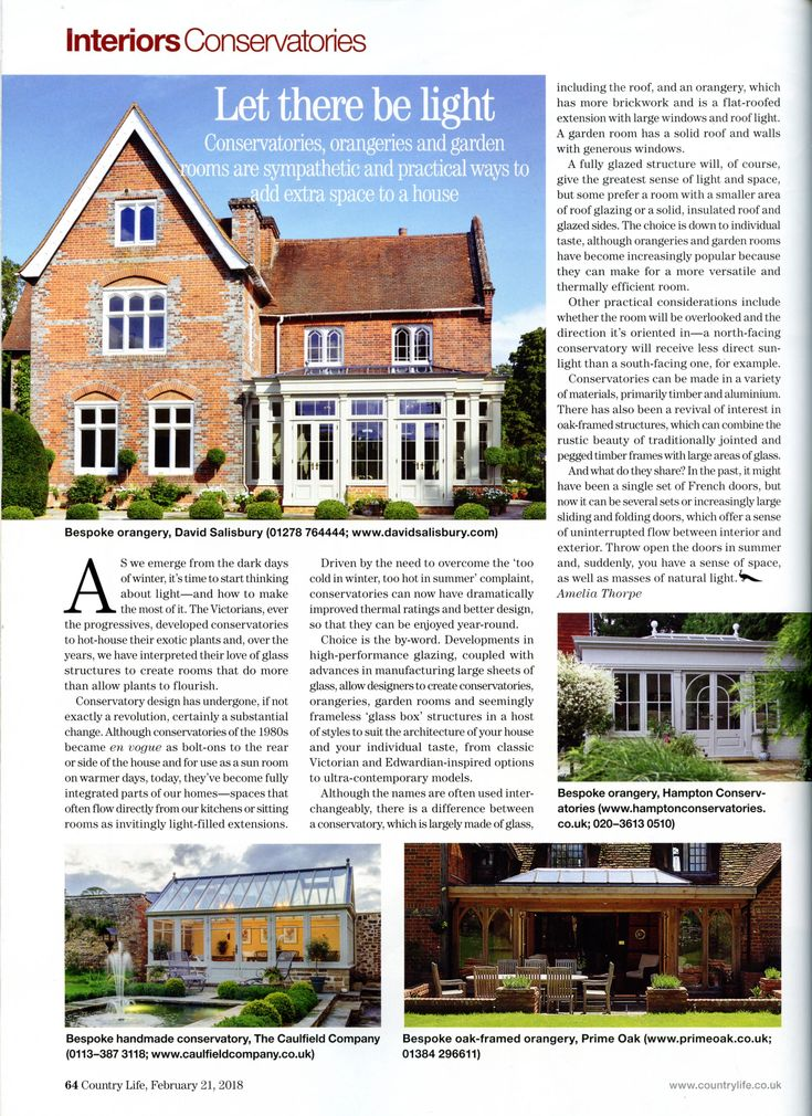 This is a bespoke handmade conservatory from The Caulfield Company. caulfieldcompany.co.uk Country Life 21st February 2018