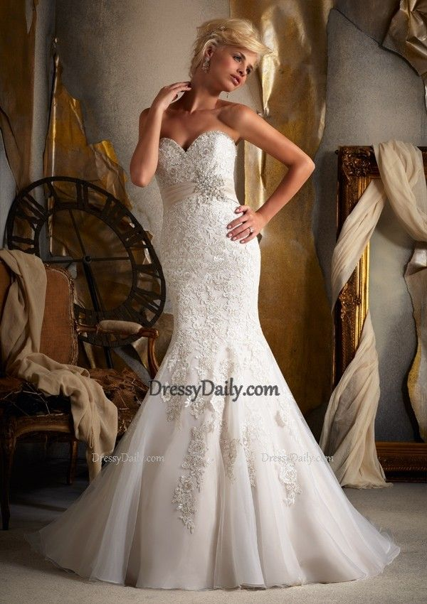 Embroidered Appliques on Net with Satin Empire Wedding Dress - Wedding Dresses - Weddings