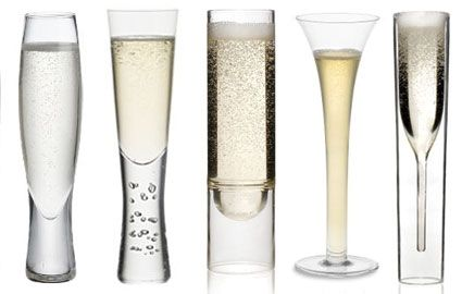 MODERN CHAMPAGNE GLASSES: left to right Selma Flute, CB2; Verve Flute, Crate & Barrel; Float Champagne Flutes by Molo, Riedel Sommeliers Sparkling Wine Glass, Williams-Sonoma; Inside Out Champagne Glass, Grounded.